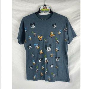Disney T Shirt Mens M Blue Many Faces Mickey Goofy